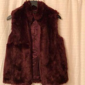 -J Crew- Cabernet Fur Vest